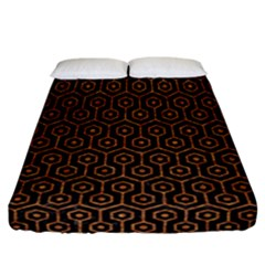 HEXAGON1 BLACK MARBLE & RUSTED METAL (R) Fitted Sheet (California King Size)