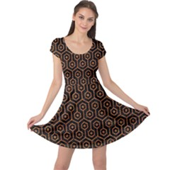 Hexagon1 Black Marble & Rusted Metal (r) Cap Sleeve Dress