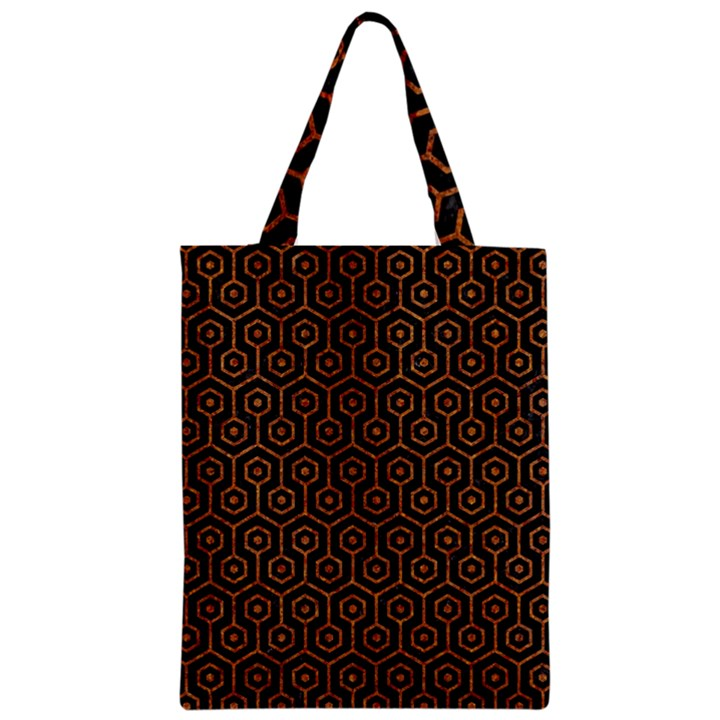 HEXAGON1 BLACK MARBLE & RUSTED METAL (R) Zipper Classic Tote Bag