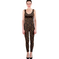 HEXAGON1 BLACK MARBLE & RUSTED METAL (R) OnePiece Catsuit