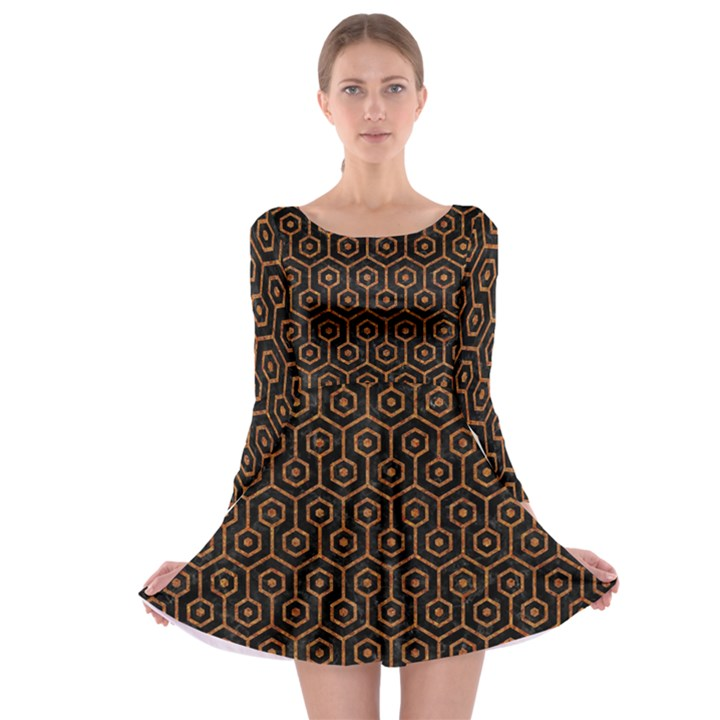 HEXAGON1 BLACK MARBLE & RUSTED METAL (R) Long Sleeve Skater Dress