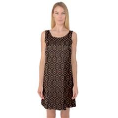 Hexagon1 Black Marble & Rusted Metal (r) Sleeveless Satin Nightdress by trendistuff