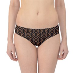 Hexagon1 Black Marble & Rusted Metal (r) Hipster Bikini Bottoms