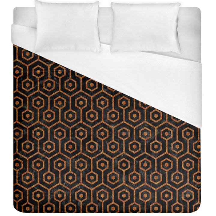 HEXAGON1 BLACK MARBLE & RUSTED METAL (R) Duvet Cover (King Size)