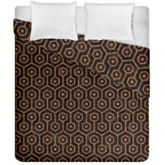 HEXAGON1 BLACK MARBLE & RUSTED METAL (R) Duvet Cover Double Side (California King Size)