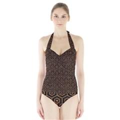 HEXAGON1 BLACK MARBLE & RUSTED METAL (R) Halter Swimsuit