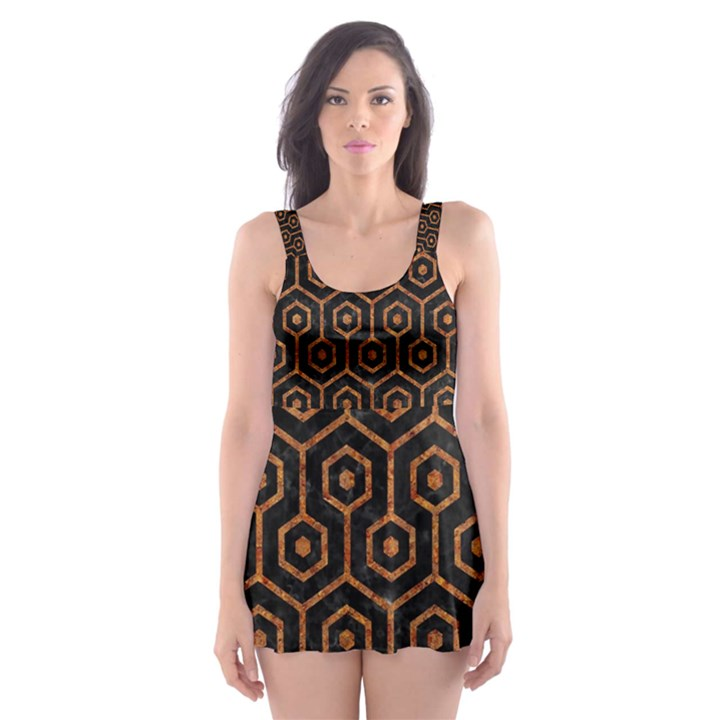 HEXAGON1 BLACK MARBLE & RUSTED METAL (R) Skater Dress Swimsuit