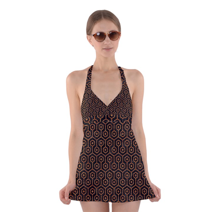HEXAGON1 BLACK MARBLE & RUSTED METAL (R) Halter Dress Swimsuit
