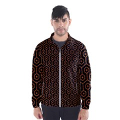 Hexagon1 Black Marble & Rusted Metal (r) Wind Breaker (men)