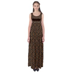 Hexagon1 Black Marble & Rusted Metal (r) Empire Waist Maxi Dress