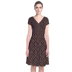 HEXAGON1 BLACK MARBLE & RUSTED METAL (R) Short Sleeve Front Wrap Dress