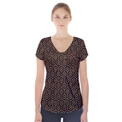 HEXAGON1 BLACK MARBLE & RUSTED METAL (R) Short Sleeve Front Detail Top