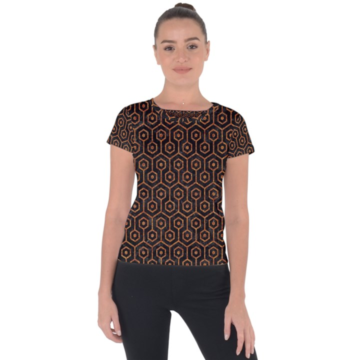 HEXAGON1 BLACK MARBLE & RUSTED METAL (R) Short Sleeve Sports Top
