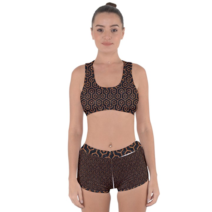 HEXAGON1 BLACK MARBLE & RUSTED METAL (R) Racerback Boyleg Bikini Set