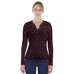 HEXAGON1 BLACK MARBLE & RUSTED METAL (R) V-Neck Long Sleeve Top