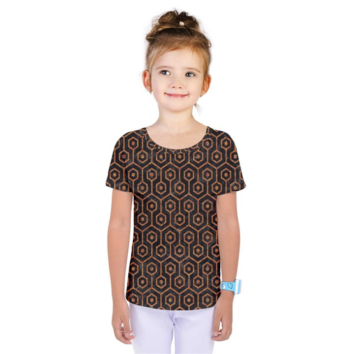 HEXAGON1 BLACK MARBLE & RUSTED METAL (R) Kids  One Piece Tee