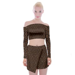HEXAGON1 BLACK MARBLE & RUSTED METAL (R) Off Shoulder Top with Mini Skirt Set