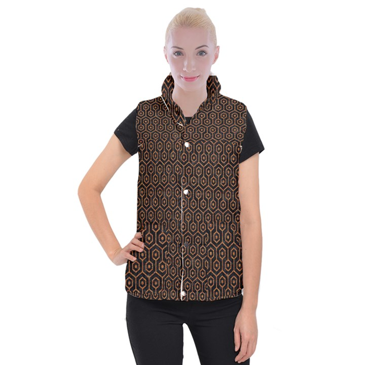 HEXAGON1 BLACK MARBLE & RUSTED METAL (R) Women s Button Up Puffer Vest