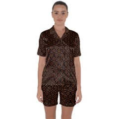 Hexagon1 Black Marble & Rusted Metal (r) Satin Short Sleeve Pyjamas Set by trendistuff