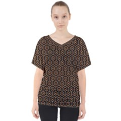 Hexagon1 Black Marble & Rusted Metal (r) V Neck Dolman Drape Top by trendistuff