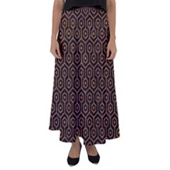 Hexagon1 Black Marble & Rusted Metal (r) Flared Maxi Skirt by trendistuff