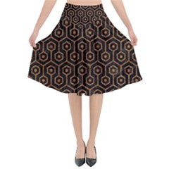 Hexagon1 Black Marble & Rusted Metal (r) Flared Midi Skirt by trendistuff
