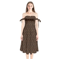 Hexagon1 Black Marble & Rusted Metal (r) Shoulder Tie Bardot Midi Dress by trendistuff