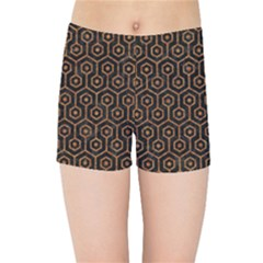 HEXAGON1 BLACK MARBLE & RUSTED METAL (R) Kids Sports Shorts