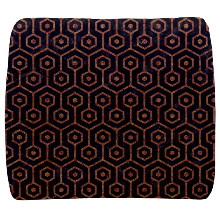 HEXAGON1 BLACK MARBLE & RUSTED METAL (R) Back Support Cushion