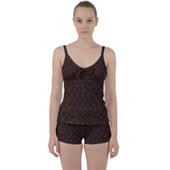 HEXAGON1 BLACK MARBLE & RUSTED METAL (R) Tie Front Two Piece Tankini