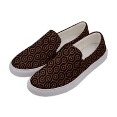 HEXAGON1 BLACK MARBLE & RUSTED METAL (R) Women s Canvas Slip Ons