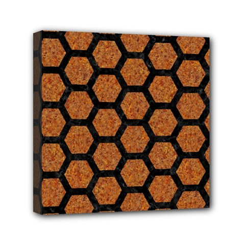 Hexagon2 Black Marble & Rusted Metal Mini Canvas 6  X 6  by trendistuff