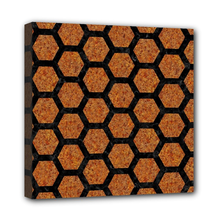 HEXAGON2 BLACK MARBLE & RUSTED METAL Mini Canvas 8  x 8