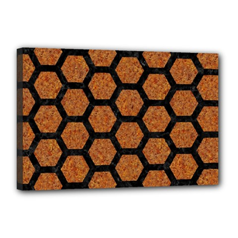 Hexagon2 Black Marble & Rusted Metal Canvas 18  X 12  by trendistuff