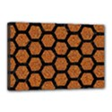 HEXAGON2 BLACK MARBLE & RUSTED METAL Canvas 18  x 12  View1