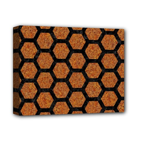 HEXAGON2 BLACK MARBLE & RUSTED METAL Deluxe Canvas 14  x 11