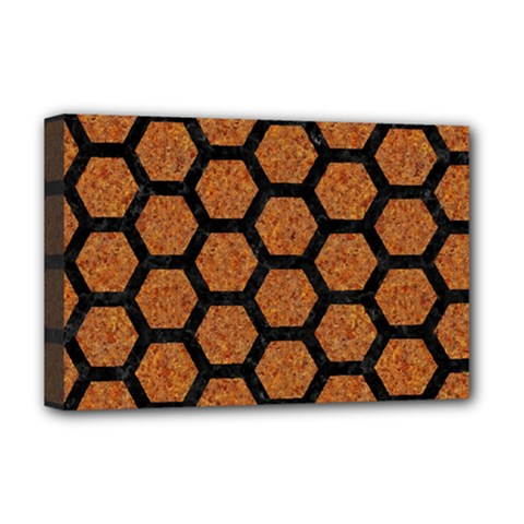 HEXAGON2 BLACK MARBLE & RUSTED METAL Deluxe Canvas 18  x 12