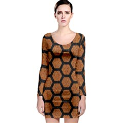 Hexagon2 Black Marble & Rusted Metal Long Sleeve Bodycon Dress