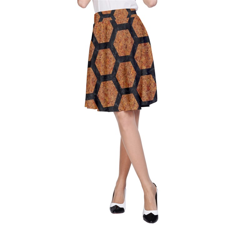 HEXAGON2 BLACK MARBLE & RUSTED METAL A-Line Skirt