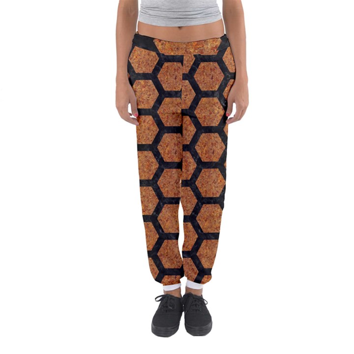 HEXAGON2 BLACK MARBLE & RUSTED METAL Women s Jogger Sweatpants