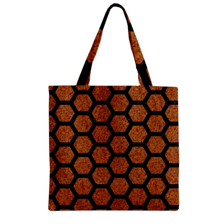 HEXAGON2 BLACK MARBLE & RUSTED METAL Zipper Grocery Tote Bag