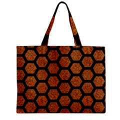Hexagon2 Black Marble & Rusted Metal Zipper Mini Tote Bag by trendistuff