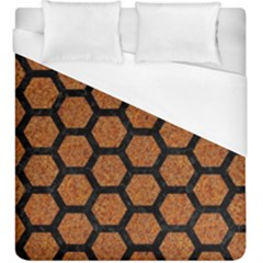 HEXAGON2 BLACK MARBLE & RUSTED METAL Duvet Cover (King Size)