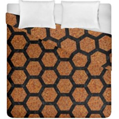 Hexagon2 Black Marble & Rusted Metal Duvet Cover Double Side (king Size) by trendistuff
