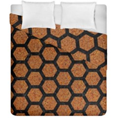 HEXAGON2 BLACK MARBLE & RUSTED METAL Duvet Cover Double Side (California King Size)
