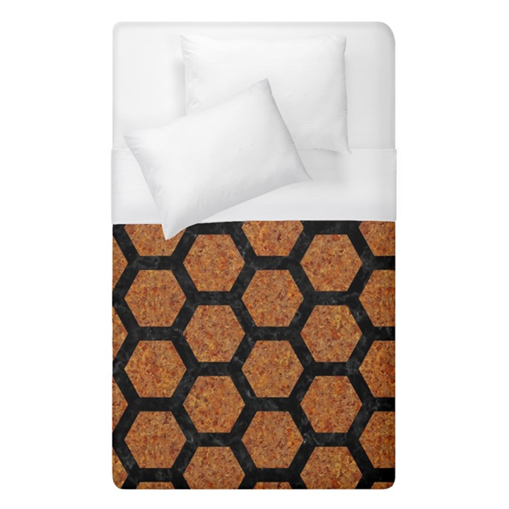 HEXAGON2 BLACK MARBLE & RUSTED METAL Duvet Cover (Single Size)