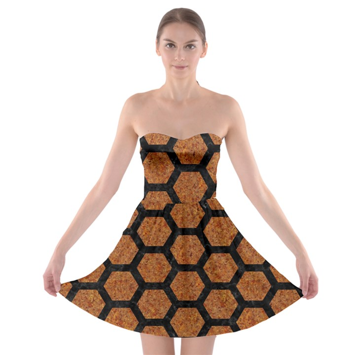 HEXAGON2 BLACK MARBLE & RUSTED METAL Strapless Bra Top Dress