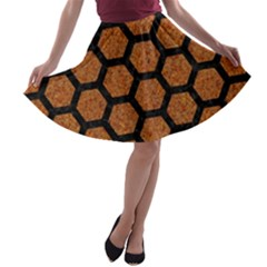Hexagon2 Black Marble & Rusted Metal A Line Skater Skirt