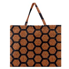 Hexagon2 Black Marble & Rusted Metal Zipper Large Tote Bag by trendistuff