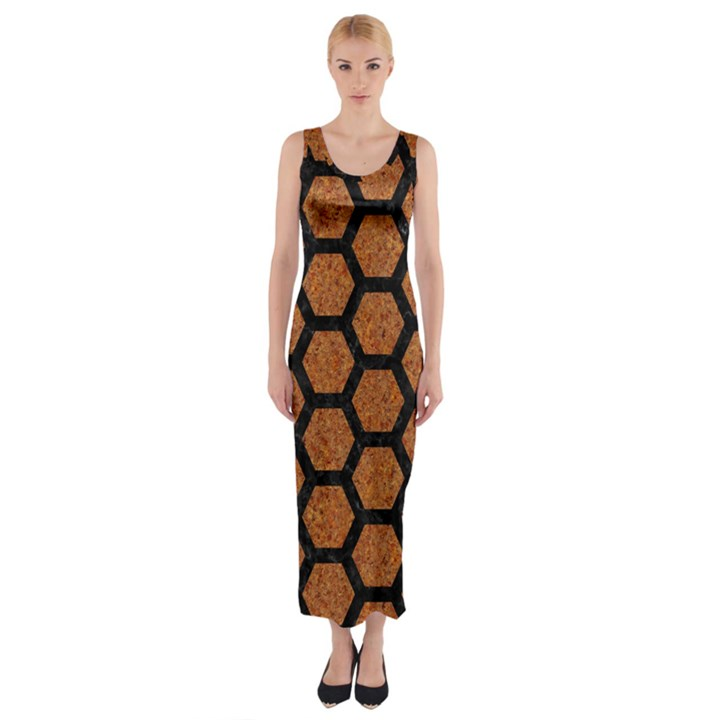 HEXAGON2 BLACK MARBLE & RUSTED METAL Fitted Maxi Dress